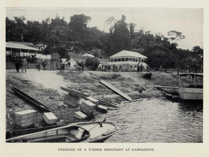 PREMISES OF A TIMBER MERCHANT AT LAMBARENE.