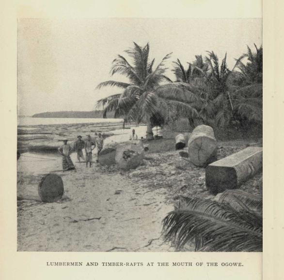LUMBERMEN AND TIMBER-RAFTS AT THE MOUTH OF THE OGOWE.