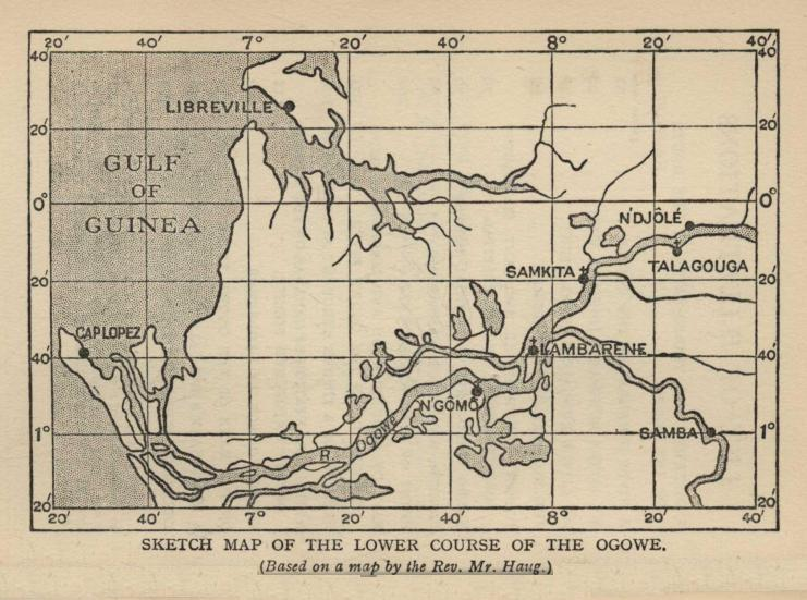 SKETCH MAP OF THE LOWER COURSE OF THE OGOWE. (Based on a map by the Rev. Mr. Haug.)