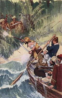 """""""'lolonois, with those that remained, had much ado to escape aboard their boats'""""—Page 97"""