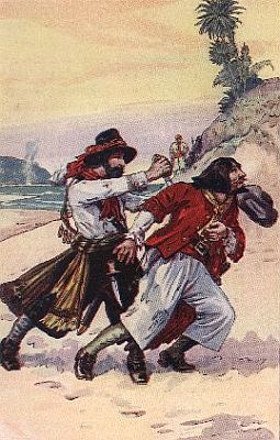 """""""'being come to the place of duel, the englishman stabbed the frenchman in the back'""""—Page 121"""