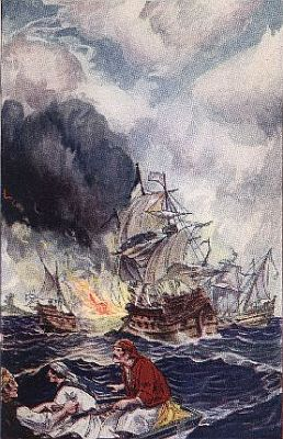 """""""'the fire-ship, sailing before the rest, fell presently upon the great ship'""""—Page 158"""