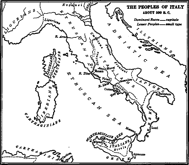 The Peoples of Italy about 500 B.C.
