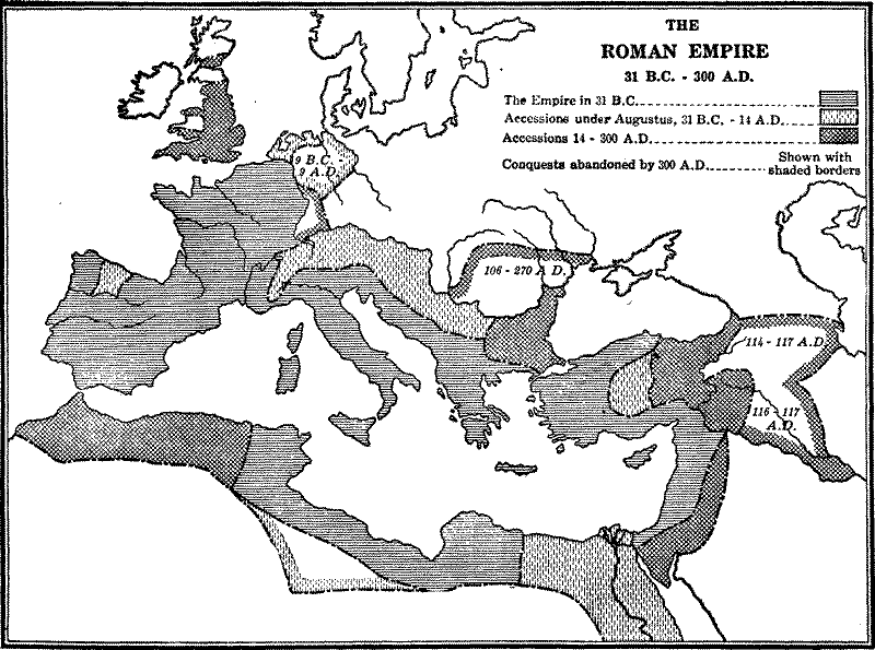 The Roman Empire from 31 B.C. to 300 A.D.