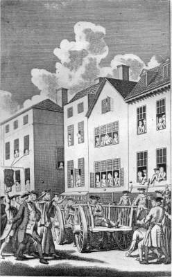 JONATHAN WILD PELTED BY THE MOB ON HIS WAY TO TYBURN