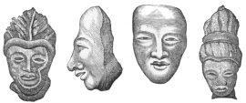 ANCIENT HEADS MADE OF CLAY.