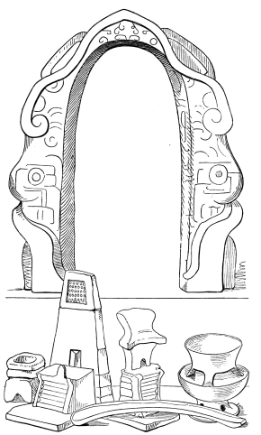 YOKE, KNIFE, SMALL VASES AND ALTARS USED IN AZTEC SACRIFICES.