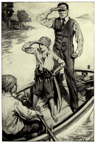 The man and two boys in a boat, one of the boys rowing