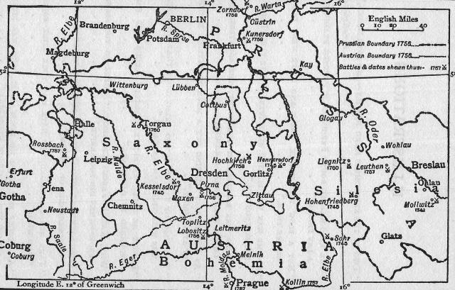 Map showing battlefields of the Seven Years' War