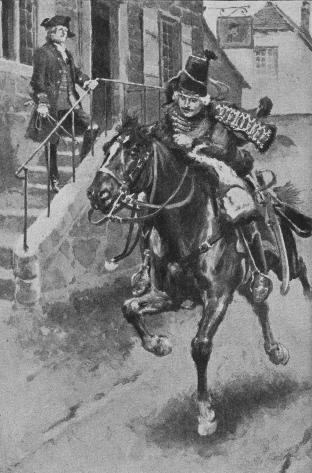 As Fergus was sallying out, a mounted officer dashed by at a gallop