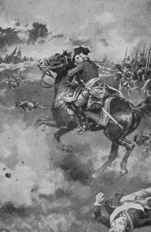 The roar of battle was so tremendous that his horse was well-nigh unmanageable
