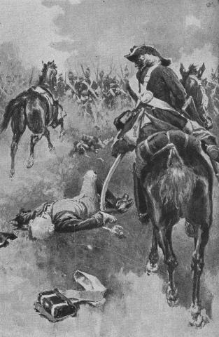 As Fergus fell from his horse, Karl, who was riding behind him, leapt from his saddle