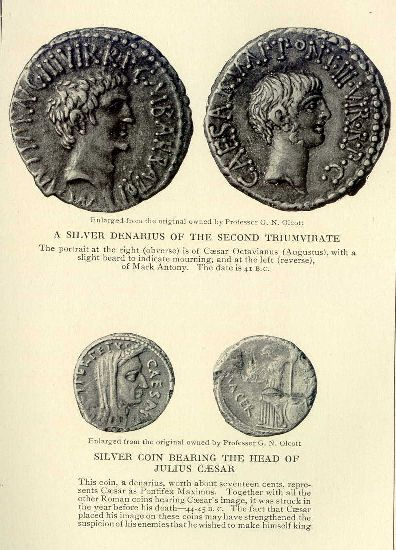 A silver denarius of the Second Triumvirate.