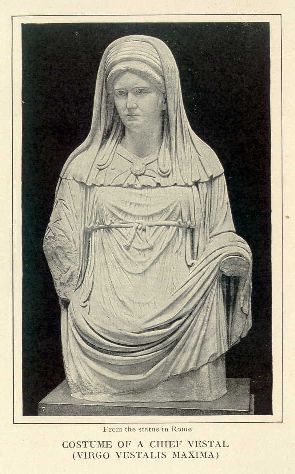 Costume of a chief vestal (virgo vestalis maxima).