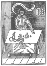 """Frontispiece of """"Hocus Pocus,"""" Second Edition, 1635, one of the earliest works on magic. From the Harry Houdini Collection."""