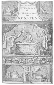 """Frontispiece from Simon Witgeest's """"Book of Natural Magic"""" (1682), showing the early Dutch conception of conjuring. From the Harry Houdini Collection."""