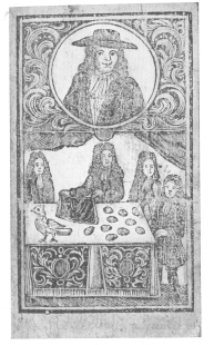 Frontispiece from Richard Neve's work on magic, showing him performing the egg and bag trick about 1715. Photographed from the original in the British Museum by the author.