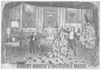 The only Robert-Houdin poster showing his complete stage setting. This lithograph was made in France. From the Harry Houdini Collection.