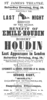 Poster for the Emile-Houdin benefit at St. James's Theatre in 1848. From the Harry Houdini Collection.