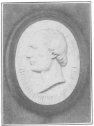 Bas-relief on Robert-Houdin tombstone. From a photograph taken by the author, especially for this work, and now in the Harry Houdini Collection.