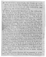 Clipping from the London Daily Post of November 30th, 1728. Used by Christopher Pinchbeck before he joined Fawkes. From the Harry Houdini Collection.