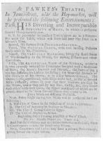 Advertisement from the London Daily Post during 1730, showing the orange tree as offered by the senior Fawkes, just previous to his death. From the Harry Houdini Collection.