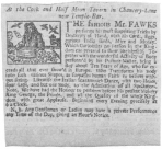 An early Fawkes advertisement, clipped from a London paper of 1725. From the Harry Houdini Collection.