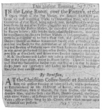 Clipping from the London Post, February 7th, 1724, in which Fawkes announces his retirement and offers to teach his tricks to all comers. Below this announcement is the advertisement of Clench, famous as an imitator and an instrumentalist.