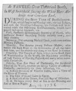 Clipping from the London Post, August 16th, 1736, when young Fawkes was playing alone. From the Harry Houdini Collection.