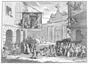 """Masquerade and opera at Burlington Gate. Reproduction of Hogarth's engraving entitled """"Taste,"""" belittling the artistic taste of London. This caricature verifies the Fawkes advertisement, reproduced on page 64, for here the conjurer is pictured leaning from the window of the """"long room"""" and calling attention to his performances. From the Harry Houdini Collection."""