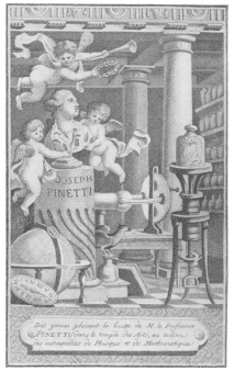 """Frontispiece of Pinetti's book, """"Amusements Physiques,"""" published in Paris, 1785, one of the first treasures of the Evanion Collection purchased by the author."""