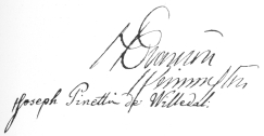 Pinetti's autograph, written by him on the back of the frontispiece, reproduced on page 78. Original in the Harry Houdini Collection.