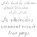 Specimens of penmanship executed by the Droz writing automaton in 1796 and 1906 respectively. From the brochure issued by the Society of History and Archæology, Canton of Neuchatel, Switzerland.