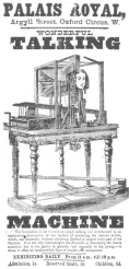 Hanger advertising the Professor Faber talking machine, exhibited by P. T. Barnum during 1873 in his museum department. This automaton was the first talking figure. From the Harry Houdini Collection.