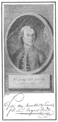 Portrait and autograph of Pierre Jacquet-Droz. Born 1721, died 1790. From the brochure issued by the Society of History and Archæology, Canton of Neuchâtel, Switzerland.