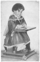 The Jacquet-Droz writing automaton. From the brochure issued by the Society of History and Archæology, Canton of Neuchâtel, Switzerland.