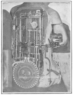 View of the mechanism which operates the Jacquet-Droz writing automaton. From the brochure issued by the Society of History and Archæology, Canton of Neuchâtel, Switzerland.