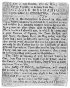 Clipping from the London Post, 1776, advertising the writing and drawing figures, exhibited by their inventor, Mr. Jacquet-Droz. From the Harry Houdini Collection.