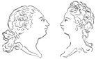 Heads of King George and Queen Charlotte, executed in their presence by the Jacquet-Droz drawing figure in 1774. From the brochure issued by the Society of History and Archæology, Canton of Neuchâtel, Switzerland.
