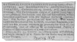 """Clipping from the London Telegraph in March, 1812, proving the partnership of de Philipsthal and Maillardet in an """"Automatical Theatre."""" The Mr. Louis mentioned in the advertisement as assistant engineer later secured possession of the writing and drawing figure. From the Harry Houdini Collection."""