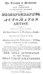 Handbill advertising the fake automatic artist, exhibited also at 161 Strand, London, May 7th, 1826. From the Harry Houdini Collection.