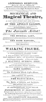 Programme used by Mr. Schmidt in 1827, when he had possession of the writing and drawing figure. From the Harry Houdini Collection.