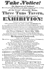 A Bologna poster of 1820 which features an automatic distiller who draws eight different liquors from one cask. From the Harry Houdini Collection.