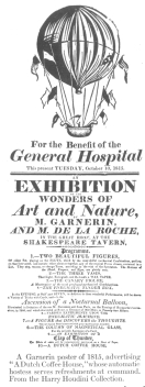 """A Garnerin poster of 1815, advertising """"A Dutch Coffee House,"""" whose automatic hostess serves refreshments at command. From the Harry Houdini Collection."""