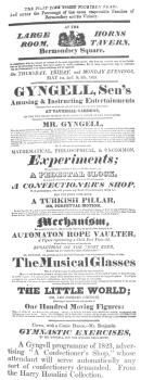"""A Gyngell programme of 1823, advertising """"A Confectioner's Shop,"""" whose attendant will serve automatically any sort of confectionery demanded. From the Harry Houdini Collection."""