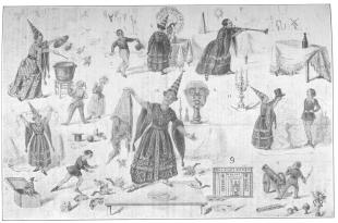 """1. Cuisine de Parafaragamus; 2. Le Chapelier de 1943; 3. Le Paon magique; 4. La Bouteille enchantée; 5. La Chaîne hydonstaine; 6. La Tête infernale; 7. Le Chapeau merveilleux; 8. L'Arlequin savant; 9. Le Confiseur galant et le Liquoriste impromptu; 10. Le Bassin de Neptune ou les poissons d'or et la ménagerie prodigieuse; 11. Éclairage de tout le théâtre improvisé par un coup de pistolet.  Reproduction of a large lithograph showing all of Phillippe's tricks, including """"Le Confiseur Galant"""" scheduled as No. 9. From the original lithograph dated 1842 now in the Harry Houdini Collection."""