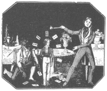 Card trick as featured by Anderson in 1836-37. From a poster in the Harry Houdini Collection.