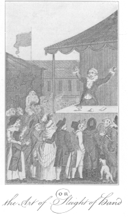 """Conjurer Unmasked  OR  the Art of Sleight of hand  Reproduction of frontispiece in Breslaw's book on magic, """"The Last Legacy,"""" published in 1782. Original in the Harry Houdini Collection."""