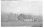 """J. H. Anderson's birth place as drawn by him from memory. The following is written under the sketch in his own handwriting: """"A rough sketch of the farm house called 'Red Stanes,' on the estate of Craigmyle, Parish of Kincardine O'Neil, Aberdeenshire. The house was built by my grandfather, John Robertson, in the year 1796, and in it I was born on the 15th day of July, 1814. John Henry Anderson."""" Photographed from the original now in the possession of Mrs. Leona A. Anderson, by the author."""