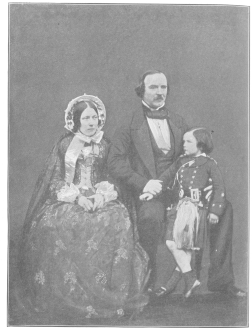 """John Henry Anderson, wife and son, from a rare photograph taken in 1847 or 1848. Said to be an especially good likeness of Mrs. Anderson and the only one extant. Photograph loaned by Mrs. Leona A. Anderson, daughter-in-law of the """"Wizard of the North."""""""